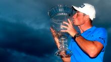 Hovland poses with the trophy after winning the Puerto Rico Open.