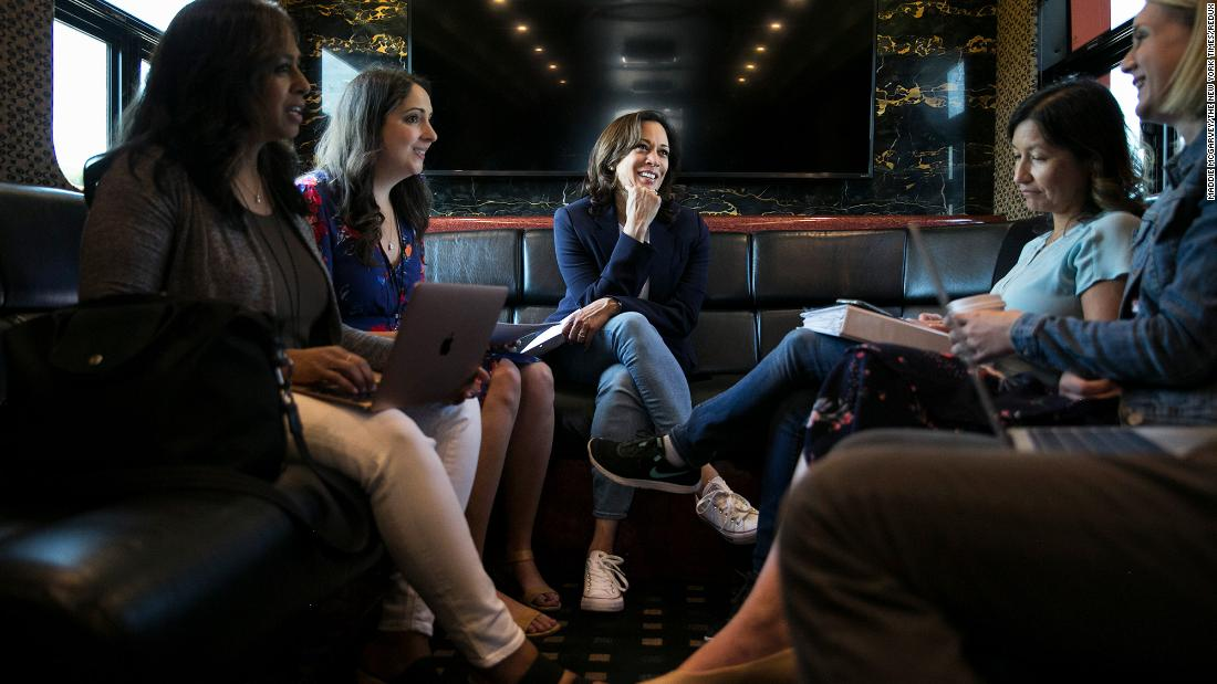 Harris rides her campaign bus in Iowa in August 2019.