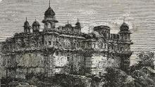 Palacio de Durjan Sal, Bharatpur. Grabado de la India, 1877, de Louis Rousselet.
