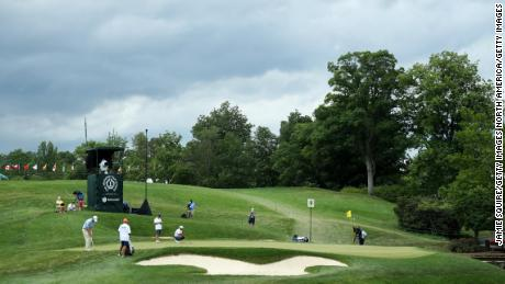 A general view of the ninth green at Muirfield Village Golf Club in Dublin, Ohio as Henrik Norlander and Jason Day putt.