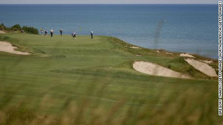 A general view of the 17th green during the first round of the US Senior Open in 2007 at Whistling Straits in Kohler, Wisconsin.