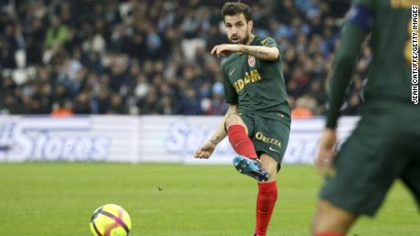 Fabregas in action for Monaco during the French Ligue 1 match between Olympique de Marseille (OM) and AS Monaco (ASM) at Stade Velodrome on January 13, 2019 in Marseille, France.