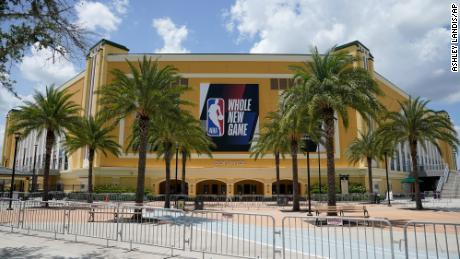 An NBA sign is posted on a basketball arena at ESPN Wide World of Sports Complex Wednesday, July 29, 2020, in Orlando.