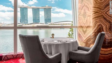 Saint Pierre overlooks Singapore's Marina Bay. It has now reopened in a reduced capacity, with social distancing guidelines in place.