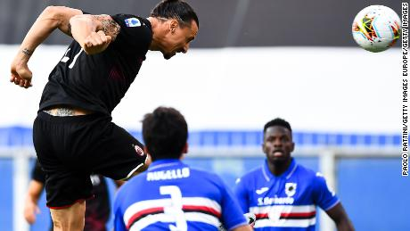 Zlatan Ibrahimovic scores a goal against Sampdoria.