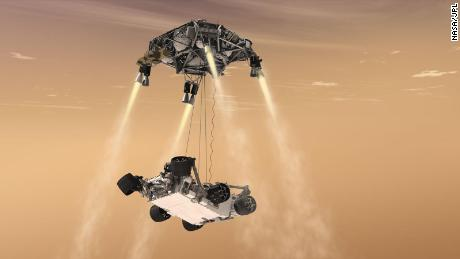 The sky crane landing system will safely deposit the rover on Mars during the last stage of descent and landing.