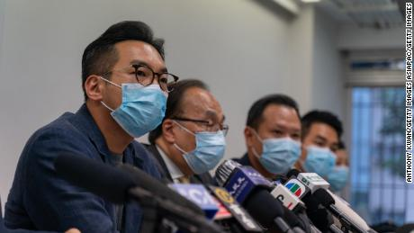 Barrister and politician Alvin Yeung speaks during a press conference on July 30, 2020 in Hong Kong, China. Yeung was among 12 prominent pro-democracy figures barred from standing for office.