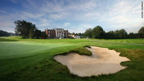 The green of the 18th hole at the Richmond Golf Club, UK.