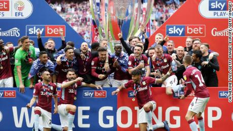 Aston Villa celebrates victory following the Championship Play-off final last season.