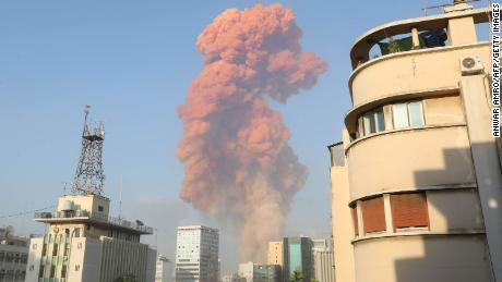Plumes of smoke from the explosion rise above Beirut on Tuesday August 4, 2020.