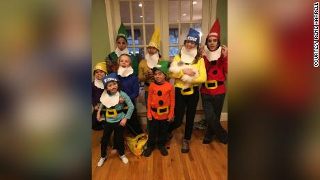 Oct. 31, 2018 -- Seraphina Harrell and her 7 older siblings who designated her Bossy Dwarf for her Halloween costume.