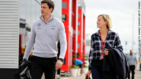 Toto and Susie Wolff in the Paddock during qualifying for the Formula 1 Grand Prix of Great Britain at Silverstone in July 9, 2016.