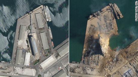 Satellite images of Beirut explosion show massive crater at port