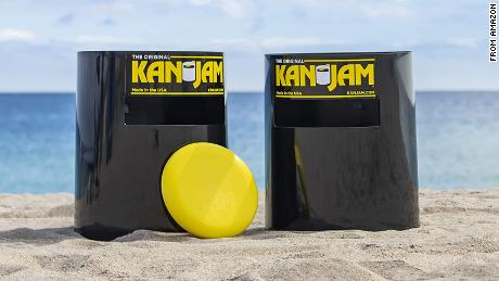 Kan Jam is a cross between cornhole and Frisbee that the family can play in the backyard.