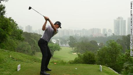 Victor Perez tees off during the final round of the Hong Kong Open at The Hong Kong Golf Club.