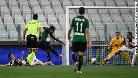 Zapata opens the scoring against Juventus. The game eventually finished 2-2.