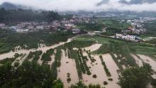 Esta foto aérea tomada el 6 de julio muestra tierras de cultivo inundadas en el condado de Shimen, en la provincia de Hunan, en el centro de China. El país se ha visto afectado por las peores inundaciones que ha experimentado en años.
