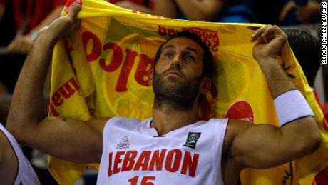 Fadi El Khatib from Lebanon reacts after their FIBA Basketball World Championship game against Spain in Izmir September 1, 2010. Spain won the match 91-57.      REUTERS/Sergio Perez (TURKEY  - Tags: SPORT BASKETBALL)
