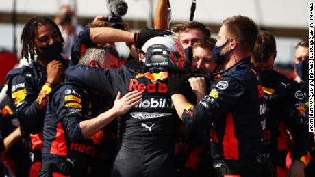 The Red Bull team was ecstatic after Max Verstappen's superb drive to win the 70th Anniversary Grand Prix at Silverstone.