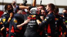 El equipo de Red Bull estaba extasiado después del magnífico impulso de Max Verstappen para ganar el Gran Premio del 70º aniversario en Silverstone.