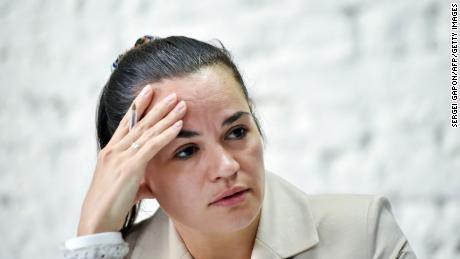 Belarus opposition leader says she gave sanctions list to Biden administration