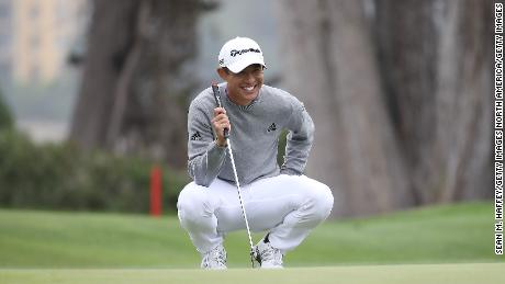 Morikawa lines up a putt for eagle on the 16th green during the final round of the 2020 PGA Championship.