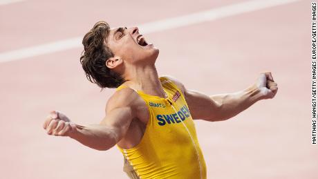 Duplantis celebrates in the men's pole vault final of last year's World Athletics Championships in Doha, where he won silver.