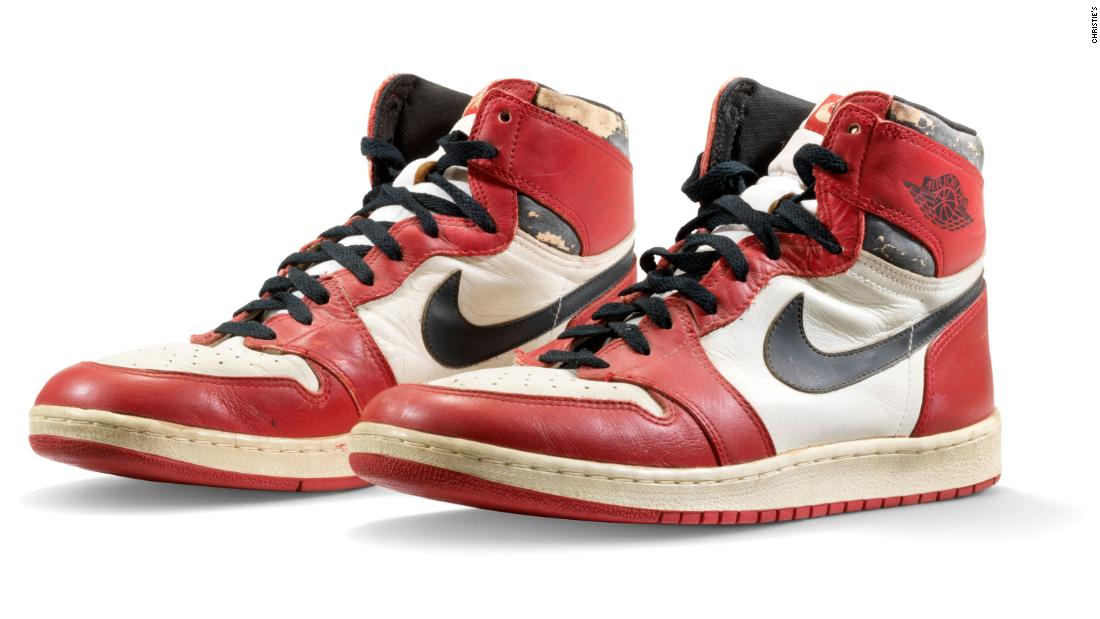 Michael Jordan's game-worn sneakers sell for a record $615,000 ...