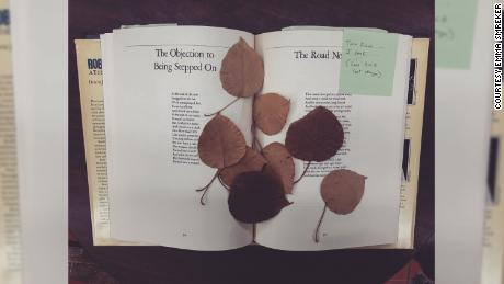 "Smreker found these pressed leaves in a copy of Robert Frost's ""A Tribute to the Source."" She often finds pressed flowers and leaves, but she continues to search for a four-leaf clover -- one of the items on her ""in used books bucket list."""