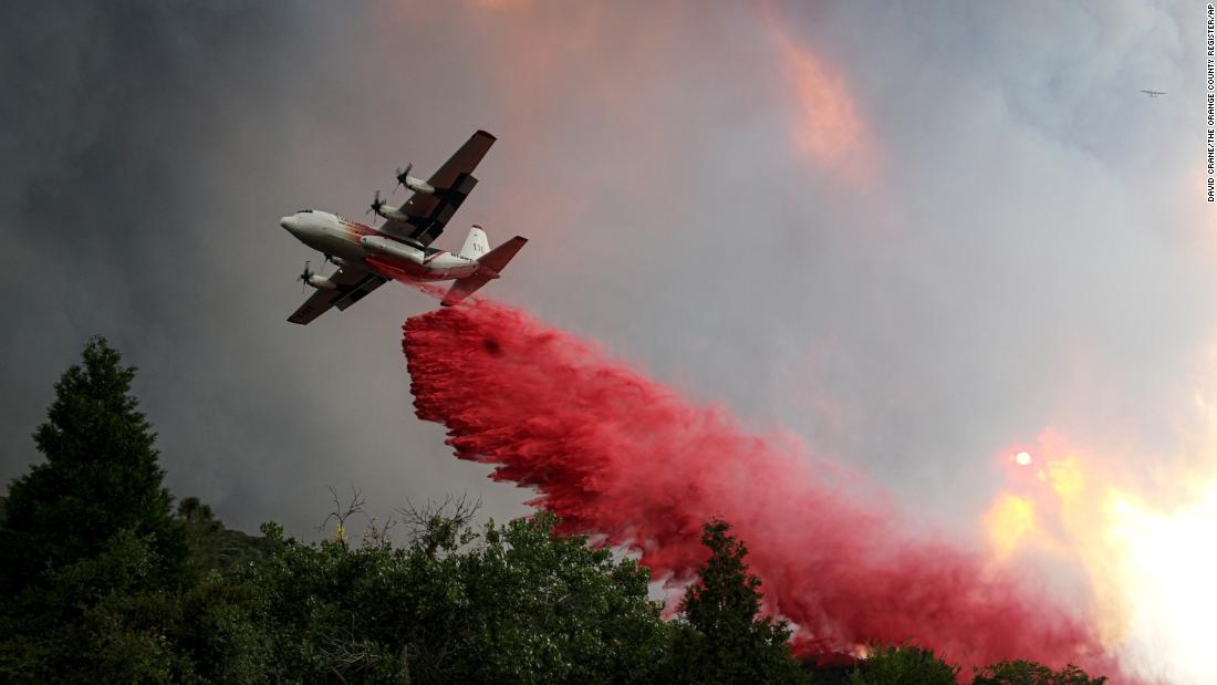 A tanker makes a drop on the Lake Fire on August 12.