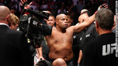 Cormier enters the ring to fight  Miocic in 2019.