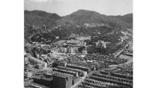 A view of Hong Kong in 1955, with  the Tiger Balm Garden with its pagoda in the far lef.