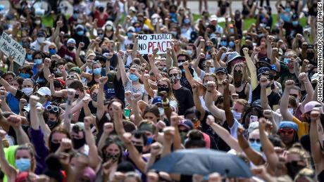 Demonstrators in Saint Paul, Minnesota, on June 2, 2020 protesting the death of George Floyd.