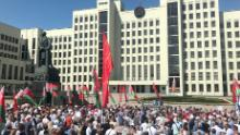 Pro-government supporters gather in Minsk on August 16, 2020 ahead of the arrival of President Alexander Lukashenko at a rally.