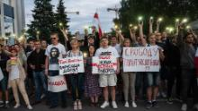 Protesters demonstrate against presidential election results outside Belarusian state TV headquarters in Minsk on August 15, 2020.