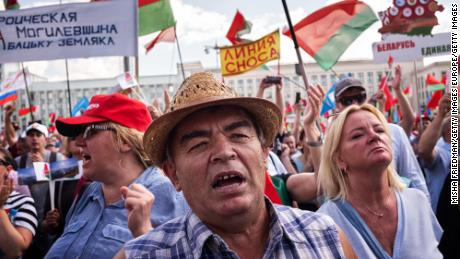 People attend a pro-government rally in Minsk, Belarus on August 16, 2020.