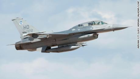 A US Air Force F-16 Viper  takes off from Holloman Air Force Base, New Mexico, on July 27, 2020.