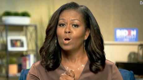 In this image from video former first lady Michelle Obama speaks during the first night of the Democratic National Convention on Monday Aug. 17 2020