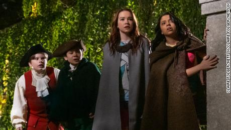 Maxwell Simkins, Lucas Jaye, Sadie Stanley and Cree Cicchino in 'The Sleepover.' (Claire Folger/Netflix).