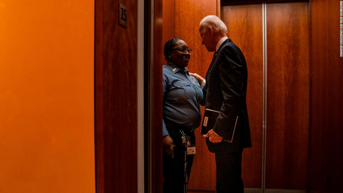 "Biden speaks with Jacquelyn Brittany, a security guard at The New York Times, in December 2019. Brittany was escorting Biden to a Times editorial board meeting when she said: ""I love you. I do. You're like my favorite."" <a href=""https://www.cnn.com/videos/politics/2020/01/21/joe-biden-elevator-selfie-new-york-times-endorsement-orig-llr.cnn"" target=""_blank"">The exchange</a> was aired as part of the Times' TV series ""The Weekly,"" and was circulated on social media. In August 2020, <a href=""https://www.cnn.com/2020/08/18/politics/security-guard-elevator-biden-convention/index.html"" target=""_blank"">Brittany gave the first speech</a> officially nominating Biden for president at the Democratic National Convention. ""I take powerful people up on my elevator all the time,"" Brittany said. ""When they get off, they go to their important meetings. Me, I just head back to the lobby. But in the short time I spent with Joe Biden, I could tell he really saw me. That he actually cared, that my life meant something to him. And I knew even when he went into his important meeting, he'd take my story in there with him."" Biden <a href=""https://twitter.com/JoeBiden/status/1295900540694433792"" target=""_blank"">responded on Twitter:</a> ""Jacquelyn: Your nomination means the world to me. Thank you — and I hope you know: we love you back."""