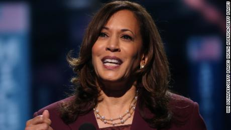 Democratic vice presidential nominee U.S. Sen. Kamala Harris (D-CA) speaks on the third night of the Democratic National Convention.