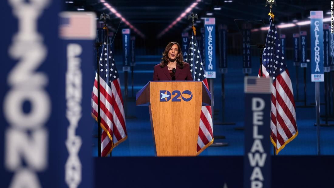 "Harris delivers a speech as she formally accepts the nomination at the <a href =""http://www.cnn.com/2020/08/20/politics/gallery/democratic-convention-2020/index.html"" target =""_공백"">Democratic National Convention.</ㅏ> ""Let's fight with conviction,"" Harris said in her speech. ""Let's fight with hope. Let's fight with confidence in ourselves and a commitment to each other. To the America we know is possible. The America we love.&인용quot;"