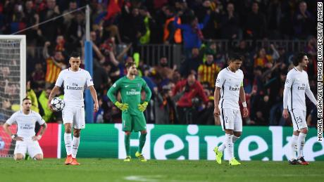 PSG players react after Sergi Roberto scored Barcelona's sixth goal in 2017.