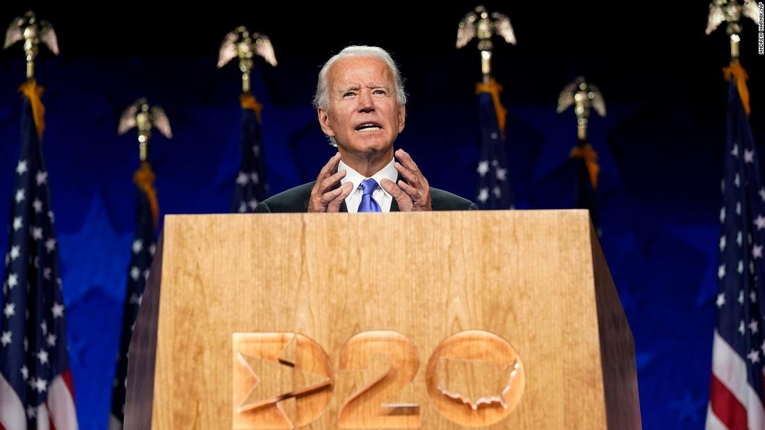 "Biden <a href=""https://www.cnn.com/2020/08/20/politics/democratic-convention-joe-biden-speech/index.html"" target=""_blank"">accepts the Democratic Party's presidential nomination</a> during a speech at the Democratic National Convention. ""This campaign isn't just about winning votes,"" Biden said. ""It is about winning the heart and, yes, the soul of America."""