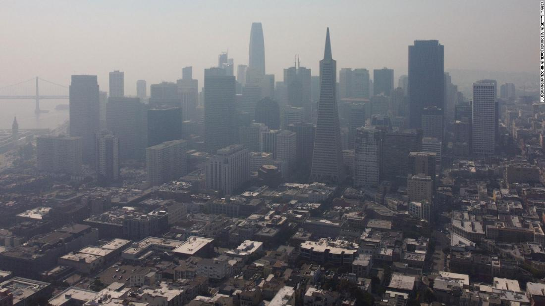 Smoke from nearby wildfires hangs over San Francisco on August 21.