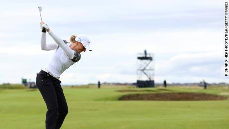 Sophia Popov of Germany plays her third shot on the 16th hole during Day Four at Royal Troon.