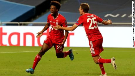 Kingsley Coman celebrates scoring the game's only goal.