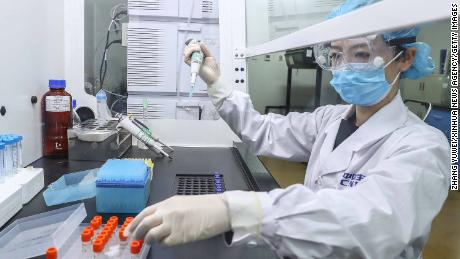 BEIJING, April 14, 2020 . A staff member tests samples of the COVID-19 inactivated vaccine at a vaccine production plant of China National Pharmaceutical Group ,Sinopharm, in Beijing, capital of China, April 11, 2020. China has approved two COVID-19 inactivated vaccine candidates for clinical trials, according to the State Council joint prevention and control mechanism against the coronavirus Tuesday.    The two vaccine candidates are developed by Wuhan Institute of Biological Products under the China National Pharmaceutical Group ,Sinopharm, and Sinovac Research and Development Co., Ltd, a company based in Beijing. Clinical trials of the two vaccines have started. (Photo by Zhang Yuwei/Xinhua via Getty) (Xinhua/Zhang Yuwei via Getty Images)