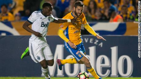 Alphonso Davies playing for Vancouver Whitecaps against Tigres in the CONCACAF Champions League.