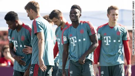 Alphonso Davies during training camp just after joining Bayern Munich.